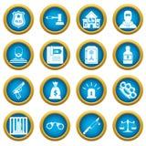 Crime and punishment icons blue circle set Stock Photo