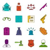 Crime and punishment icons doodle set. Crime and punishment icons set. Doodle illustration of vector icons isolated on white background for any web design Stock Images