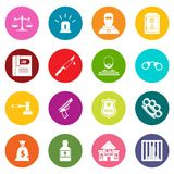 Crime and punishment icons many colors set Stock Photography