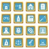 Crime and punishment icons azure Stock Image