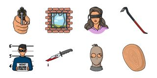 Crime and Punishment icons in set collection for design.Criminal vector symbol stock web illustration. Crime and Punishment icons in set collection for design Royalty Free Stock Images