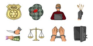 Crime and Punishment icons in set collection for design  Stock Photos