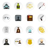 Crime and punishment icons set, flat style. Crime and punishment icons set in flat style. Law and order set collection vector icons set illustration Stock Photo