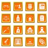 Crime and punishment icons set orange. Crime and punishment icons set in orange color isolated vector illustration for web and any design Stock Images