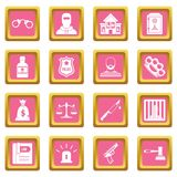 Crime and punishment icons pink Royalty Free Stock Images