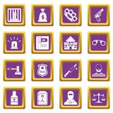Crime and punishment icons set purple. Crime and punishment icons set in purple color isolated vector illustration for web and any design Royalty Free Stock Photo