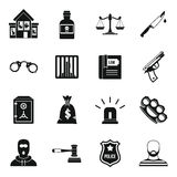 Crime and punishment icons set, simple style Stock Photo