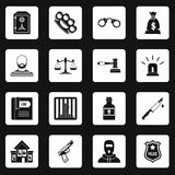 Crime and punishment icons set squares vector. Crime and punishment icons set in white squares on black background simple style vector illustration Stock Photography