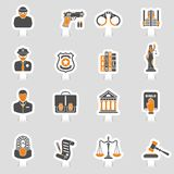 Crime and Punishment Icons Sticker Set Royalty Free Stock Image