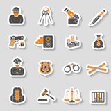 Crime and Punishment Icons Sticker Set Stock Images