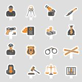 Crime and Punishment Icons Sticker Set Royalty Free Stock Image