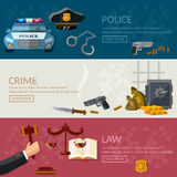 Crime and punishment justice system banners Stock Photography