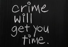 Crime And Punishment. The phrase Crime Will Get You Time written by hand in white chalk on a used blackboard Stock Image