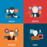 Crime and punishments flat icons composition Stock Photos