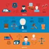 Crime and punishments horizontal flat banners Stock Photo