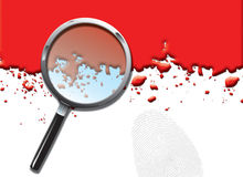 Crime Scenario. A landscape format illustration of blood spatters on a white background, with a magnifying glass and large fingerprint Royalty Free Stock Photography