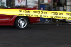 Crime scence at gas station royalty free stock photos