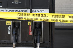 Crime scence at gas station royalty free stock photography