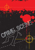 Crime scene. A grunge styled illustration on a crime based theme. Blood,gun targets and body outlines Stock Photo