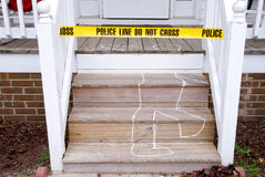 Crime Scene. Chalk outline of a body ar a crime scene Stock Photography
