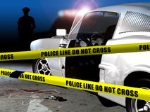 Crime scene. Two yellow  police strips, forbidding the access to a crime scene on which we can see, near a sports car, the silhouette of the victim, the murder Stock Photography