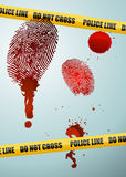 Crime scene. With bloody fingerprints Stock Image