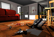 Crime scene. A room with several indications of a crime Stock Photos
