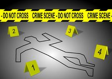 Crime scene. A body outline with crime scene tape and numbers Royalty Free Stock Images