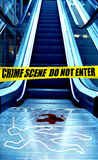 Crime scene. In front of an escalator in a shopping mall Stock Images