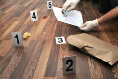 Crime scene. Revealing and preserving criminological tracks Stock Image