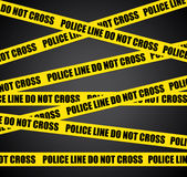 Crime scene. Do not cross. Black background with police lines Stock Images