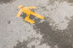Crime scene. A pedestrian lane sign painted on the ground, metaphorically seen and the sign on a crime scene Stock Photo