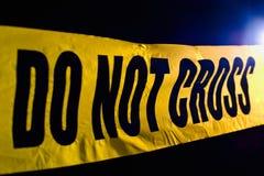 Crime scene. Police line do not cross Stock Photo