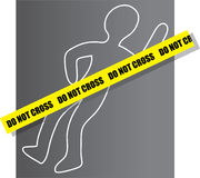 Crime Scene. Chalk drawing for a crime scene with yellow ribbon Stock Photography