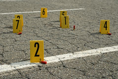 Crime Scene. Numbered placards at crime scene with evidence royalty free stock photography