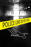 Crime scene. Police crime scene with yellow boundary tape Stock Photo