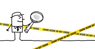 Crime scene. Vector hand-drawn characters line Stock Images