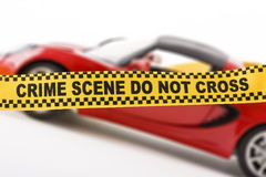 Crime scene banner over car Royalty Free Stock Photography