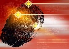 Crime scene - Biometric Security Scanner - Identification. Finger print Royalty Free Stock Images