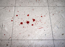 Crime Scene Blood Spatter. Blood spatter drips on dirty floor for scary crime scene imagery Stock Images