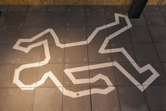 Crime scene chalk line Royalty Free Stock Images