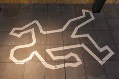Crime scene chalk line Royalty Free Stock Images