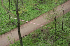 Crime scene in a city park Royalty Free Stock Photography