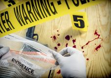 Crime scene for cutting weapon, Police Scientific manipulating bag of evidence, conceptual image stock image