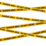 Crime scene danger area yellow tape, police line Do Not Cross tape. Cartoon flat-style illustration White background Stock Images