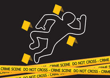 Crime scene danger tapes  illustration Royalty Free Stock Photo