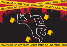 Crime scene danger tapes  illustration Royalty Free Stock Photos