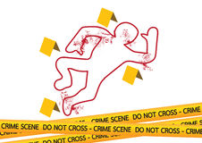 Crime scene danger tapes  illustration Stock Photo