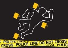 Crime scene danger tapes illustration Royalty Free Stock Photos