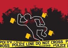 Crime scene danger tapes illustration Stock Photo